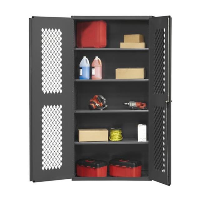 14 Gauge Flush Door Style Lockable Ventilated Cabinet with 3 Adjustable Shelves, Gray - 36 x 24 x 84 in.