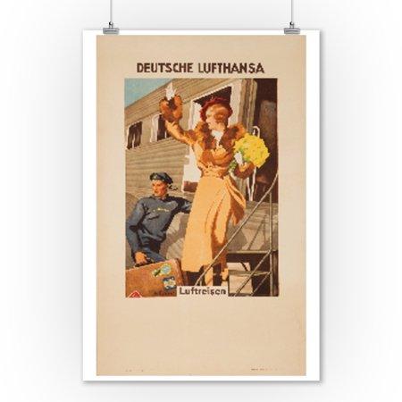 Deutsche Lufthansa Vintage Poster  Artist  Engelhard  Germany C  1935  9X12 Art Print  Wall Decor Travel Poster