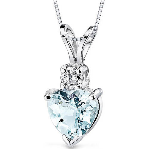 Oravo 0.75 Carat T.G.W. Heart-Shape Aquamarine and Diamond Accent 14kt White Gold Pendant, 18""