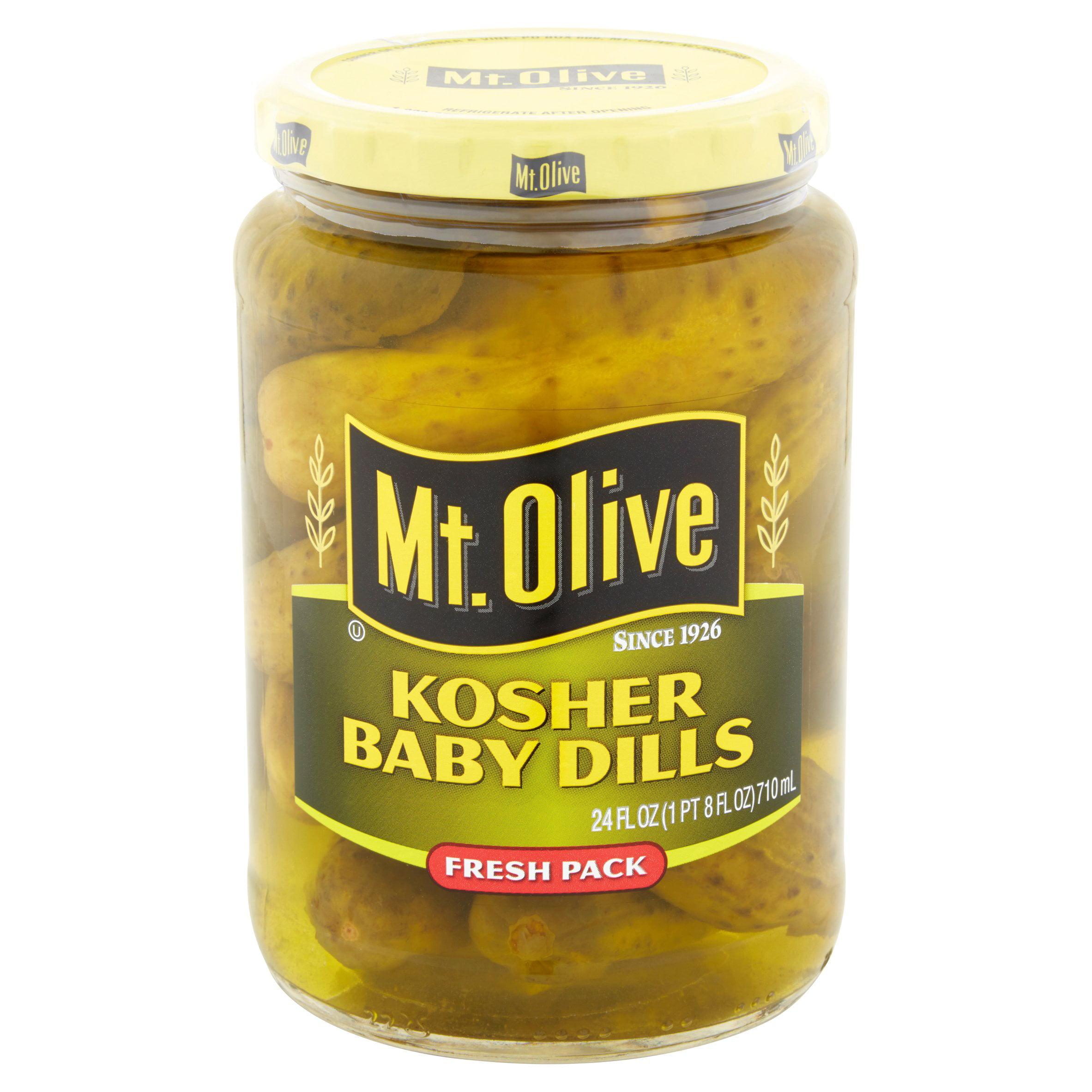 Mt. Olive Kosher Baby Dills Fresh Pack Pickles 24 fl. oz. Jar by Mt. Olive Pickle Company, Inc. / Corner of Cucumber & Vine