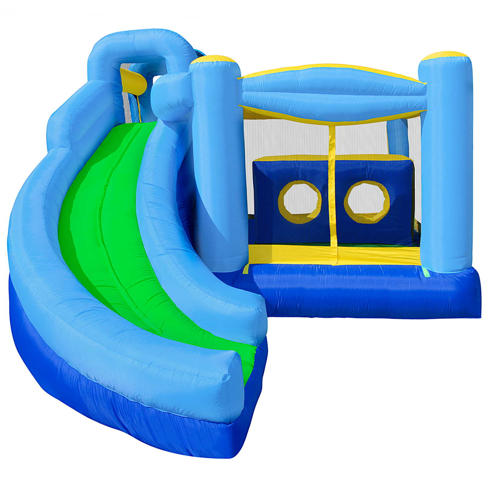 Cloud 9 Quad Combo Bounce House - Inflatable Bouncer with Climbing Wall, Slide and Obstacle Tunnel with Blower