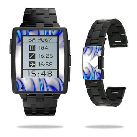 Skin Decal Wrap for Pebble Steel Smart Watch sticker Blue Fire
