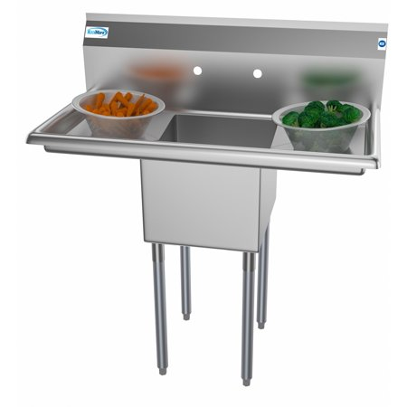 "1 Compartment 38"" Stainless Steel Commercial Kitchen Prep & Utility Sink with 2 Drainboards - Bowl Size 14"" x 16"" x 11"""