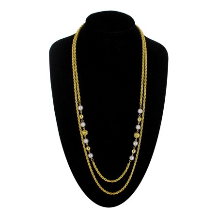 Double Strand Faux Pearl (Yellow Gold Tone Double Strand Rope Chain Faux Pearl)