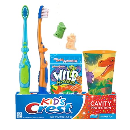 - Dinosaurs Inspired 7pc. Bright Smile Oral Hygiene Set! Toothbrush, Dino Brush Cap, Toothpaste, Floss & Mouthwash Rise Cup!, (2) Soft Manual 3-D Dinosaur Toothbrushes By SmileCare