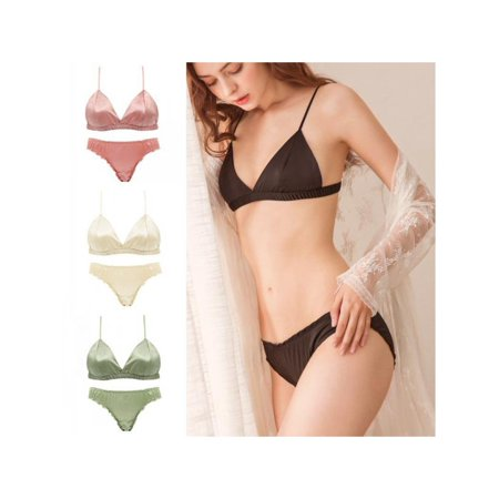Topumt Bikini Smooth Satin No Steel Ring Triangle Cup Bra + Panties