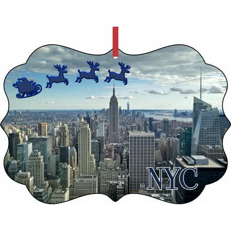 Santa Klaus and Sleigh Riding Over Top of the Rock Observation Deck, New York City Elegant Aluminum SemiGloss Christmas Ornament Tree Decoration - Unique Modern Novelty Tree Décor Favors](City Novelties)