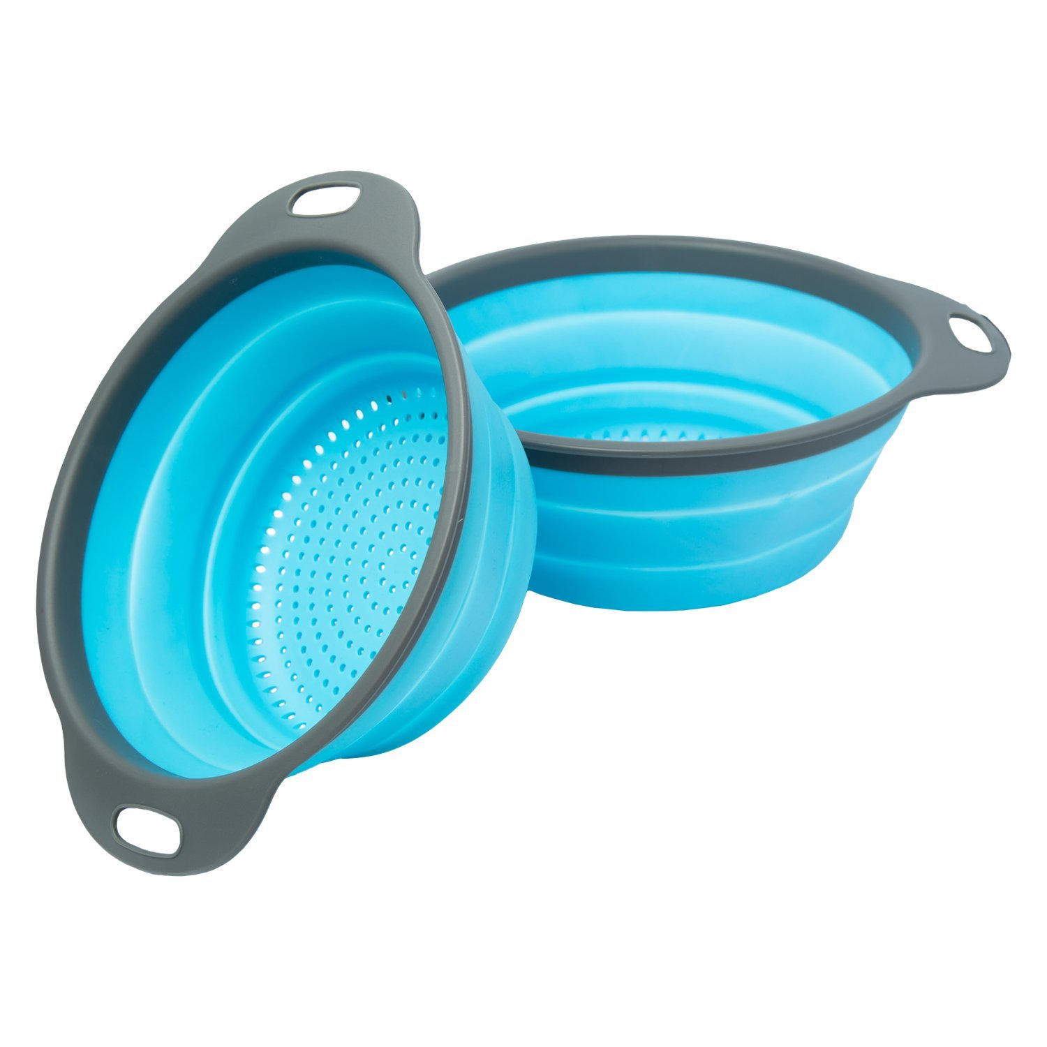 "2Pcs Collapsible Colander Set Food Grade Silicone Kitchen Fruit Vegetable Strainer Basket-11.5"" and 9.7"" Size Folding Strainer with Steady Base Dishwasher"