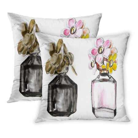 ECCOT Pink Aromatherapy Perfume Glass Floral Bottle Watercolor Flower Fragrance White Two Bottles on One Canvas PillowCase Pillow Cover 16x16 inch Set of 2 (Fragrance Pillow)