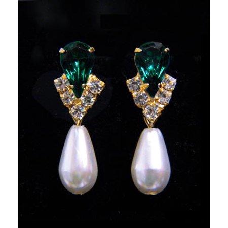 #5538EMG - Rhinestone Pear V Pearl Drop Earrings - Emerald Gold Plated (Alexandrite Gemstone Pear Shape)