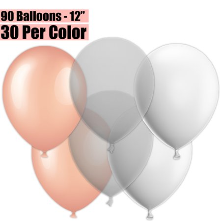 Clear Helium Balloons (12 Inch Party Balloons, 90 Count - Metallic Rose Gold + Clear + White - 30 Per Color. Helium Quality Bulk Latex Balloons In 3 Assorted Colors - For Birthdays,)