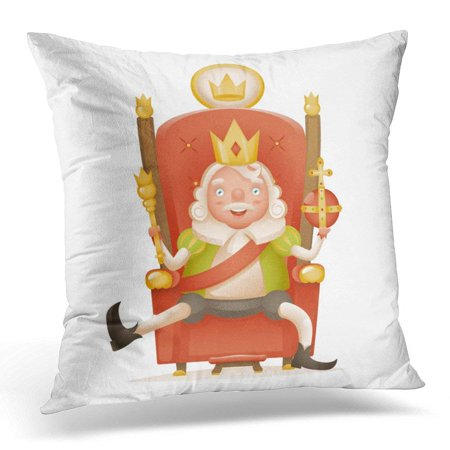 ARHOME Cute Cheerful King Ruler on Throne Crown Head Power and Scepter in Hands Cartoon Character 3D Realistic Pillow Case Pillow Cover 18x18 inch](King Scepter)