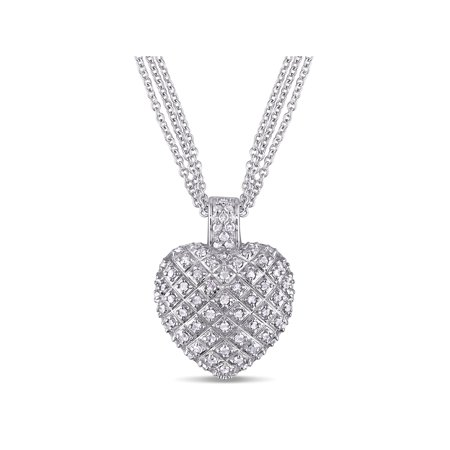 1 Carat T.W. Diamond Sterling Silver Heart Women