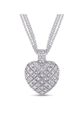 1 Carat T.W. Diamond Sterling Silver Heart Pendant Necklace with 3-Strand Chain
