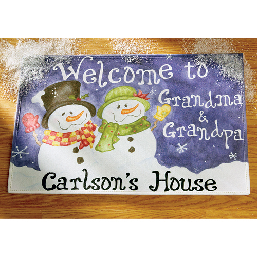 """Personalized 'Welcome to' Snowman Doormat 17"""" x 27"""""""