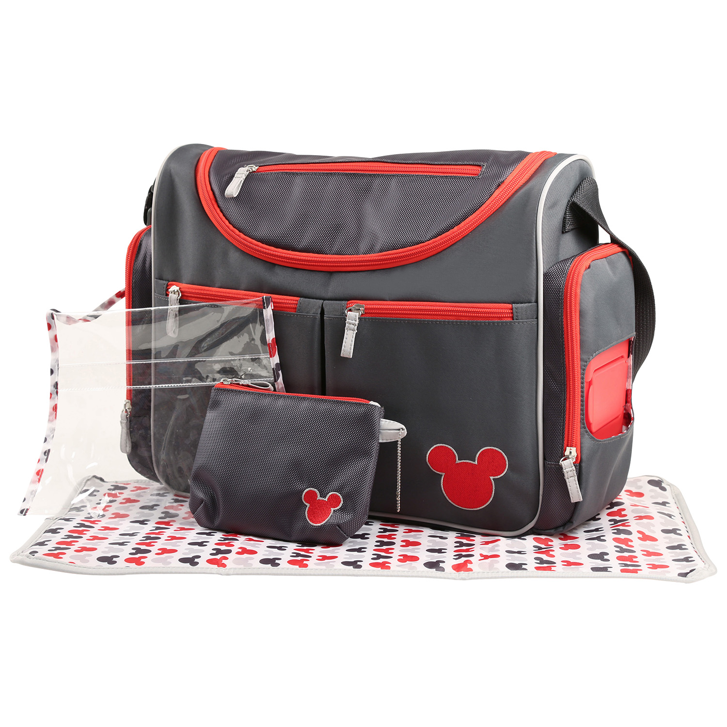 Disney Mickey Mouse Five Piece Diaper Bag Set, Grey