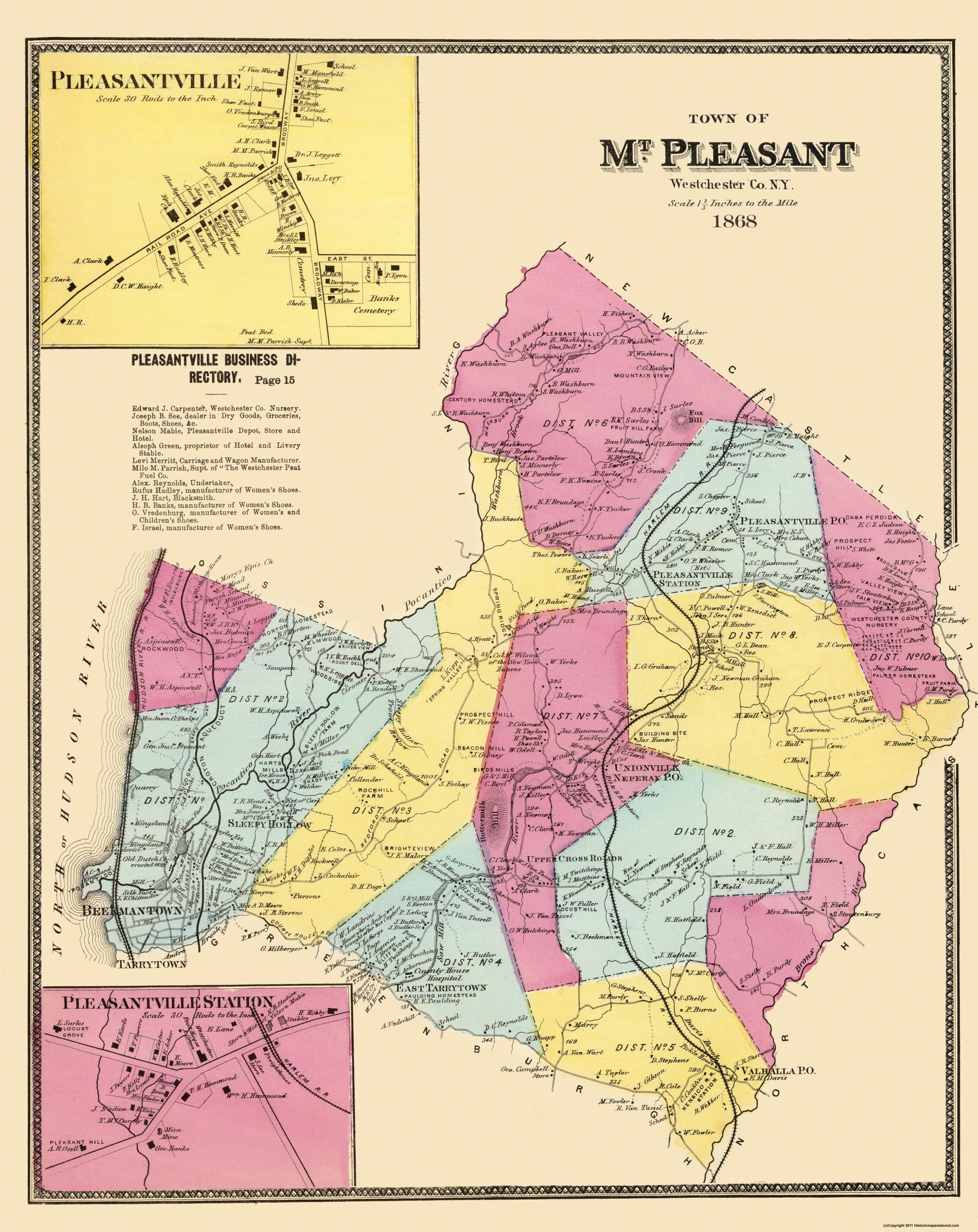 Old City Map Mount Pleasant New York Landowner 1868 23 x 2894