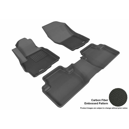 (3D MAXpider 2011-2017 Mitsubishi Outlander Front & Second Row Set All Weather Floor Liners in Black with Carbon Fiber Look)
