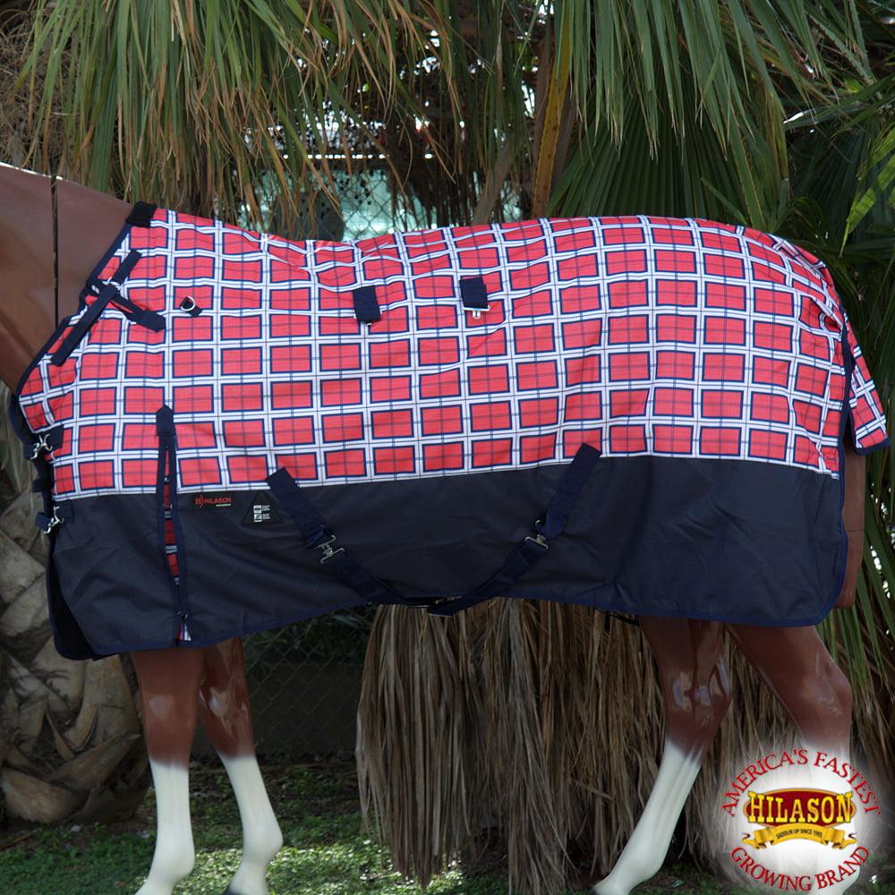 "66"" HILASON 1200D WATERPROOF TURNOUT WINTER HORSE BLANKET RED PLAID BLACK PRINT"