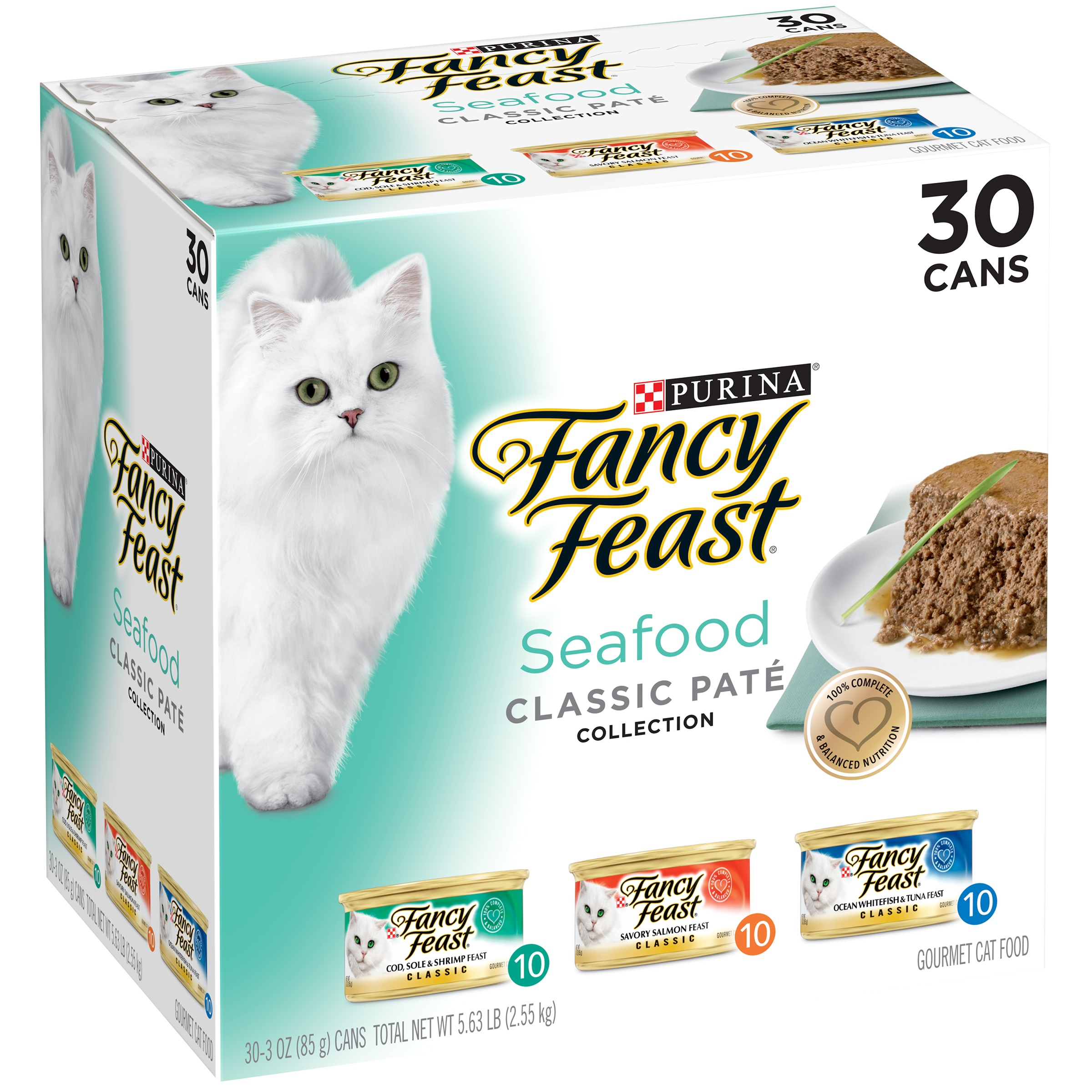 Purina Fancy Feast Classic Seafood Feast Collection Cat Food 30-3 oz. Cans