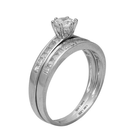 1.50 Ct 14K Real White Gold Round Cut with Princess Cut Channel Set Side Stones 6 Prong Setting Engagement Wedding Propose Promise Ring with Matching Band Duo 2 Ring Set