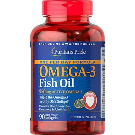 Puritan's Pride One Per Day Omega-3 Fish Oil 1360 mg (950 mg Active Omega-3)-90