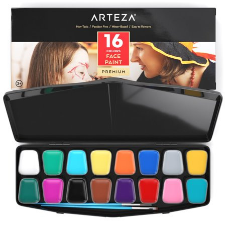 Arteza Face Paint 16 Colors Kit - Halloween Eye Mask Face Paint