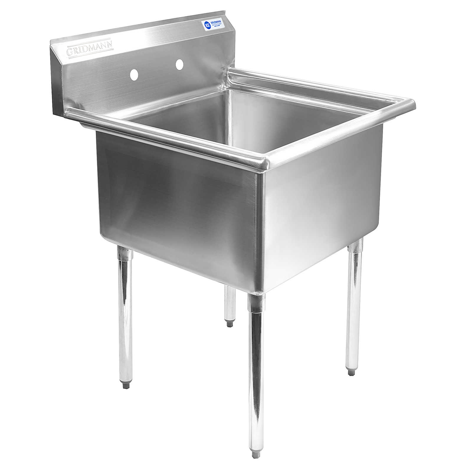 Gridmann 1 Compartment NSF Stainless Steel Commercial Kitchen Prep U0026 Utility  Sink   30 In.