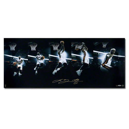 NBA - LeBron James Miami Heat Unframed Autographed Art of the Dunk Sequence 36x18 Photograph