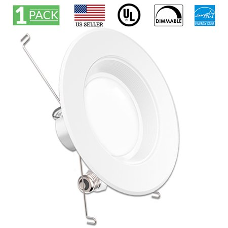 Sunco Lighting 1 Pack 5 / 6 Inch Baffle Recessed Retrofit Kit LED Light Fixture, 13W (75W Replacement), 5000K Kelvin Daylight, 965 Lumen, Dimmable, Quick/Easy Can Install, Damp Area ()