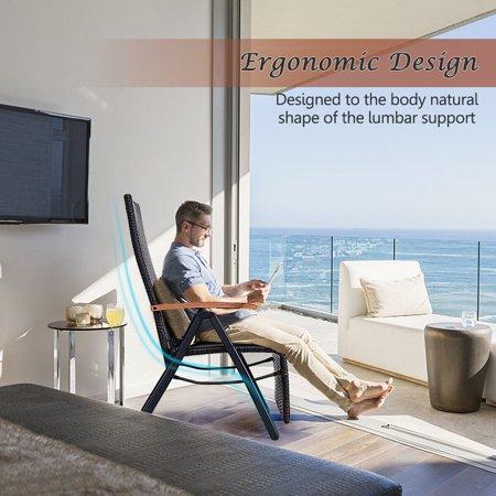 Aluminum Rattan Lounge Chair Recliner Patio Garden Furniture Folding Back - image 1 of 10