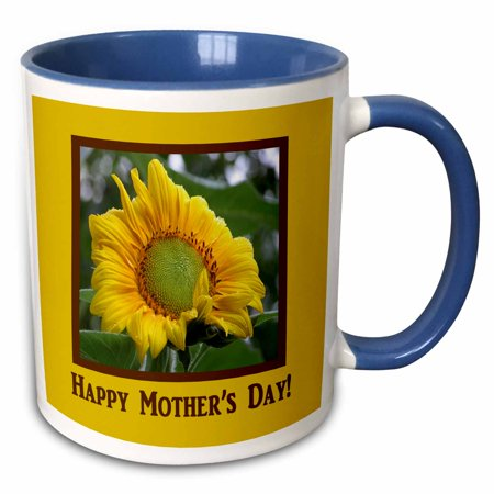 3dRose Morning Sunflower, Happy Mothers Day - Two Tone Blue Mug, 11-ounce](Happy Mothers Fay)