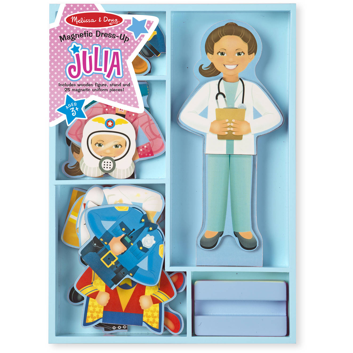 Melissa & Doug Julia Magnetic Dress-Up Wooden Doll Pretend Play ...