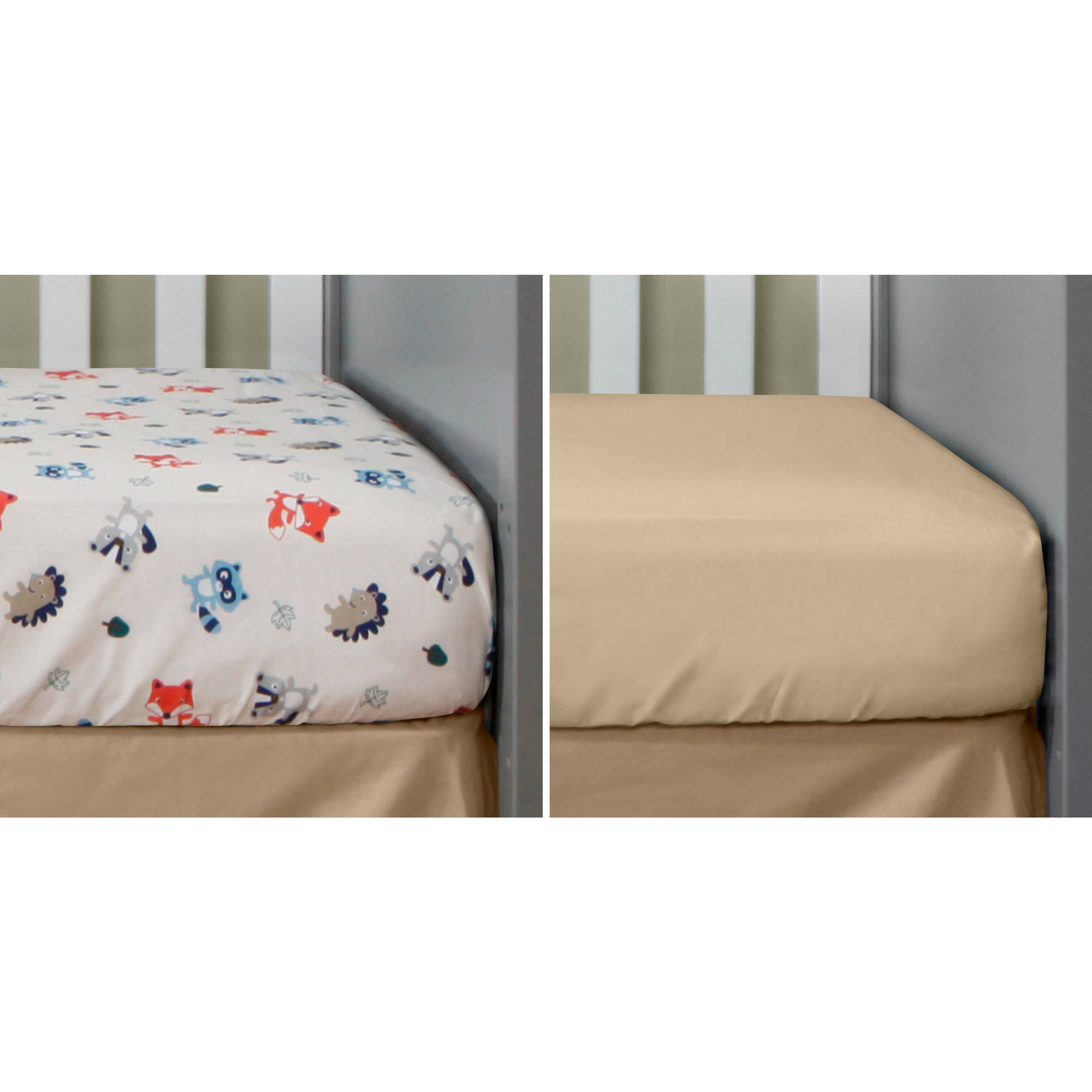 Bananafish Studio Forest Fun Set of 2 Crib Sheets, Toss Print/Khaki Solid