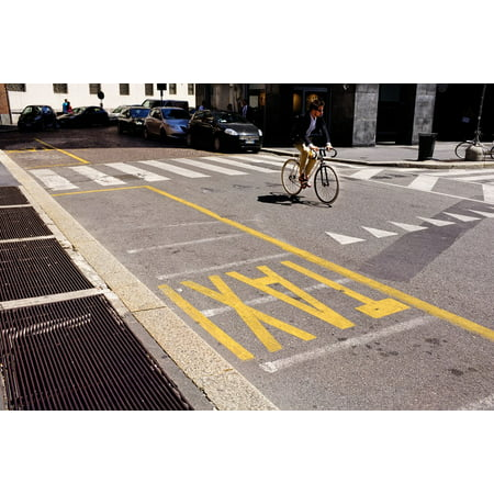 Canvas Print Italy Milan Road Line Taxi Bike The Markup Stretched Canvas 10 x (Bike Taxi)