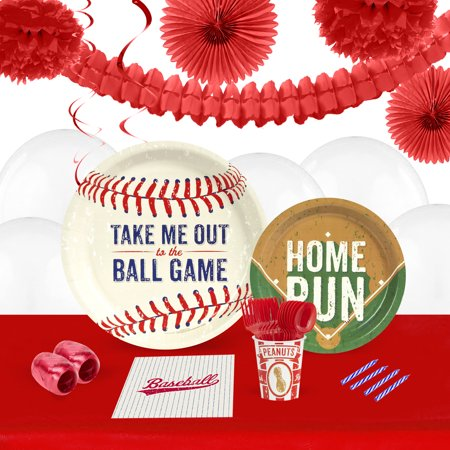 Baseball Time 16-Guest Tableware and Decoration Kit (Baseball Supplies)
