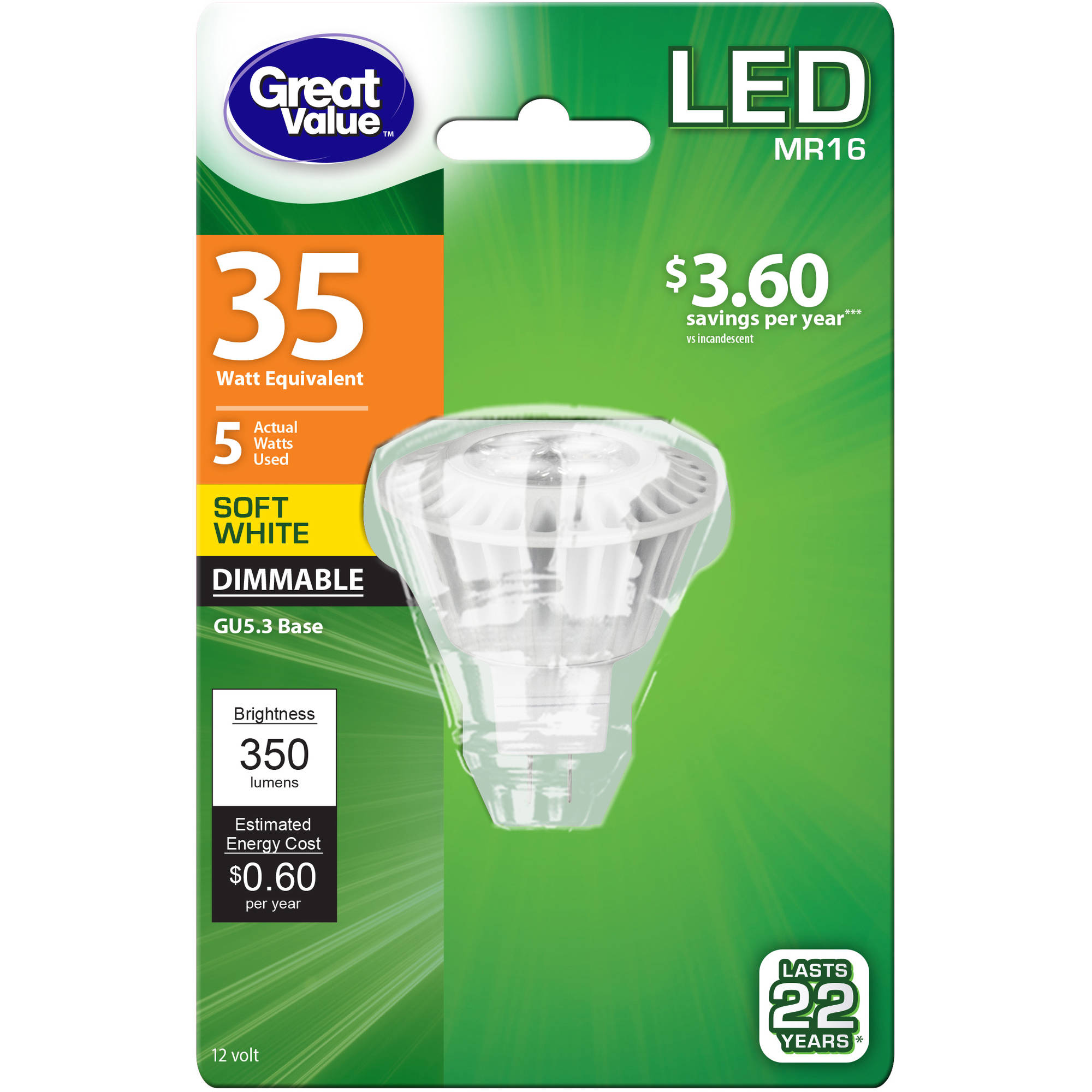 Great Value LED Light Bulb, 5W (35W Equivalent), Dimmable, Soft White, MR16,12V