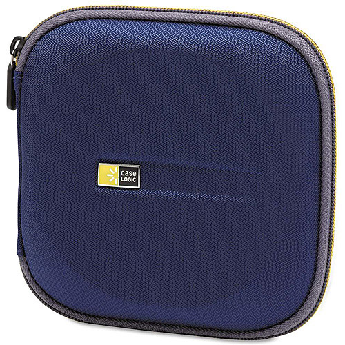 Case Logic EVA CD/DVD Case, 24 Cap., Blue, 6 1/4 x 6 1/4 x 1 1/4