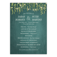 Personalized Wedding Program - Greenery Lights - 5 x 7 Flat