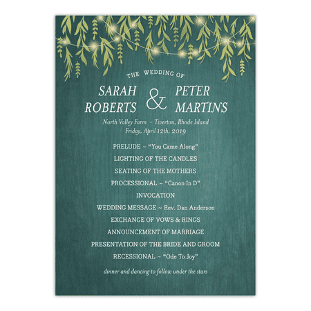 Personalized Wedding Program - Greenery Lights - 5 x 7 Flat - Fan Wedding Programs