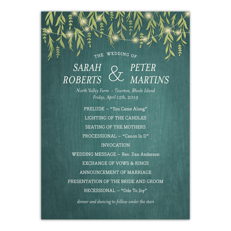 Personalized Wedding Program - Greenery Lights - 5 x 7 Flat
