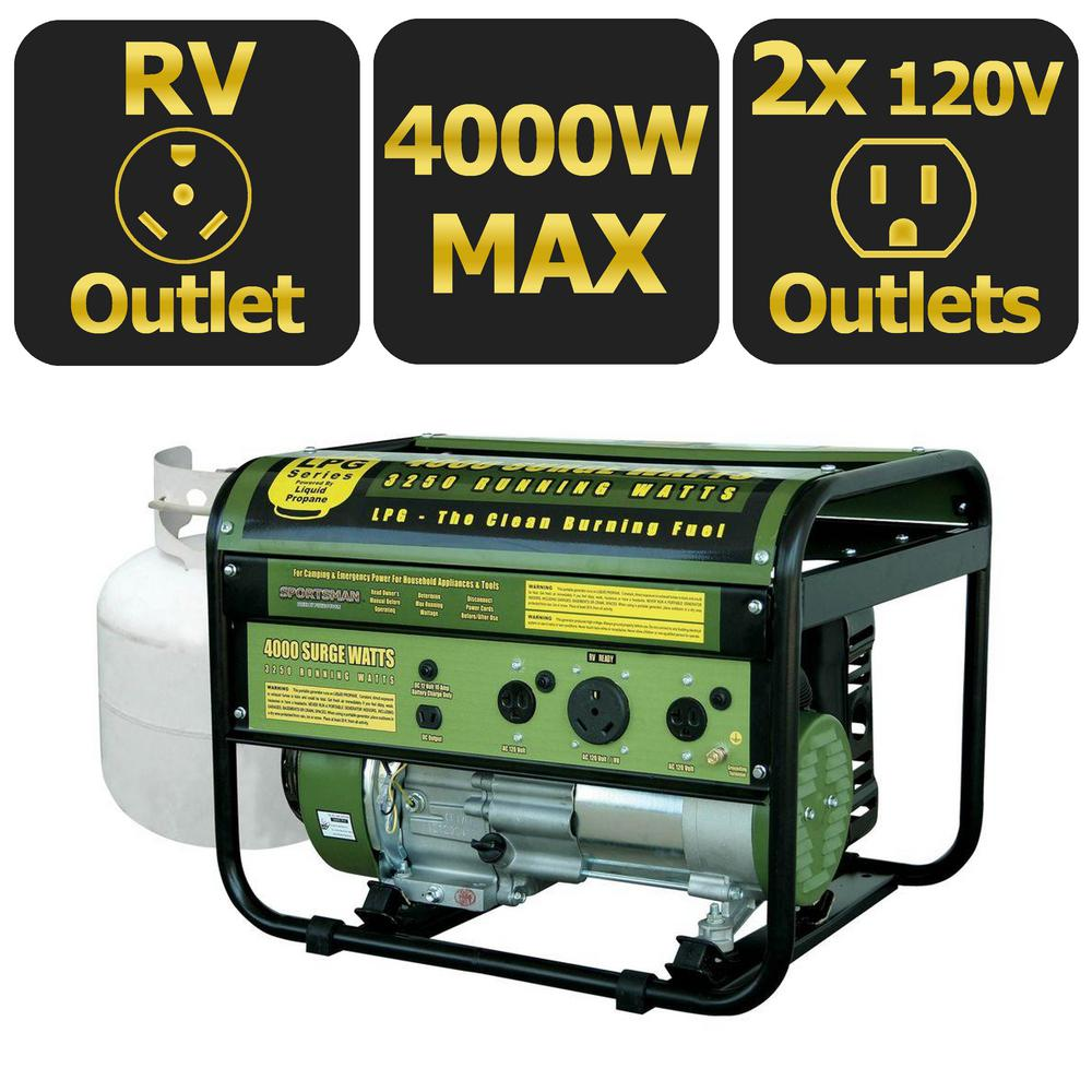 Sportsmans Series 4000-Watt LP Generator, CARB approved