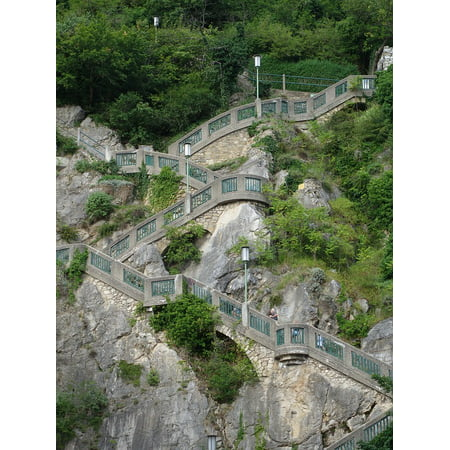 Laminated Poster Schlossberg Staircase Rise Graz Stairs Upward Up Poster Print 11 x 17
