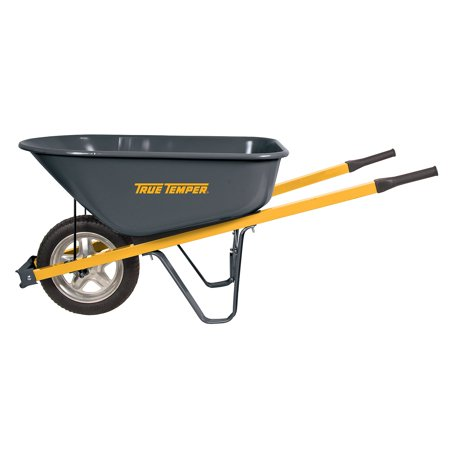 True Temper 6' Cubic Steel Wheelbarrow w/ Steel Handles and Flat-Free (True Temper Cart)