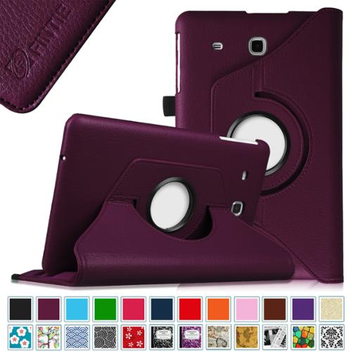 Fintie Samsung Galaxy Tab E 9.6 / Tab E Nook 9.6 Tablet Case - PU Leather 360 Degree Rotating Cover, Purple