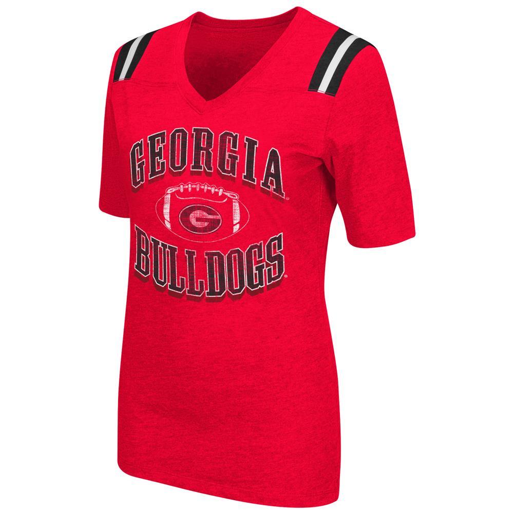 Women's Georgia Bulldogs UGA Artistic Football Tee