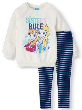 Frozen Graphic Crewneck with Faux Fur Sleeve and Printed Legging, 2-Piece Outfit Set (Little Girls & Big Girls)