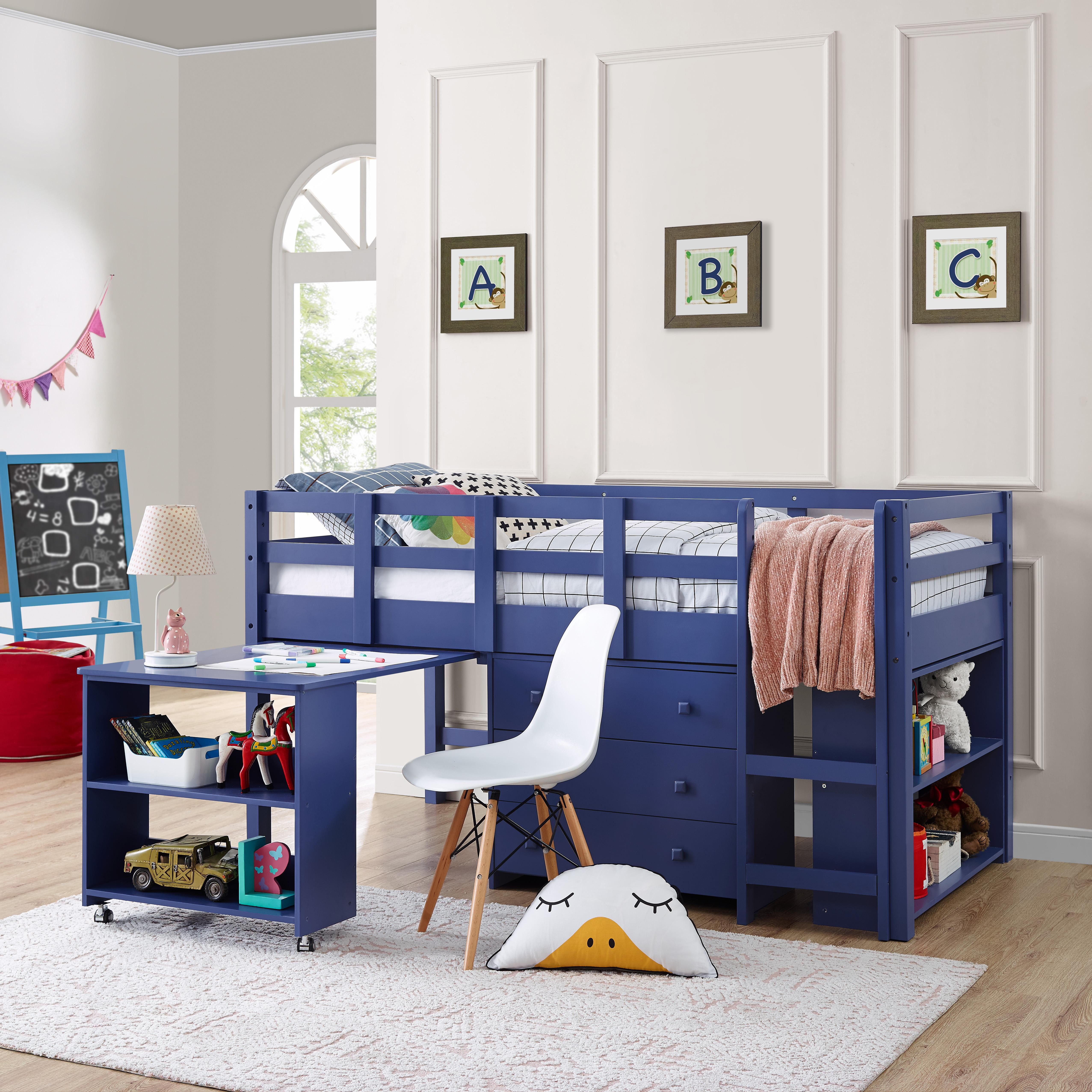 Naomi Home Low Study Loft Bed-Finish:Navy,Size:Twin