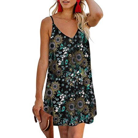 Womens Summer Beach Button Front Sleeveless Adjustable Spaghetti Strap Casual Mini Short Dress