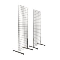 2 x 6  Black Gridwall Panel Tower with T-Base Floorstanding Display Kit (2Pk)